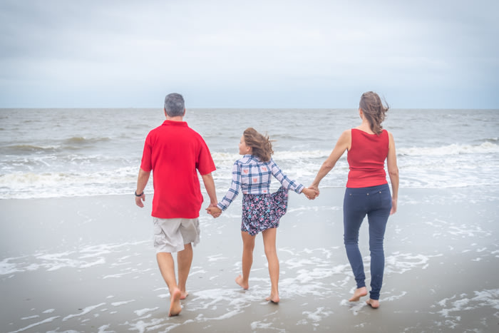 A family photo on the beach at Jekyll Island