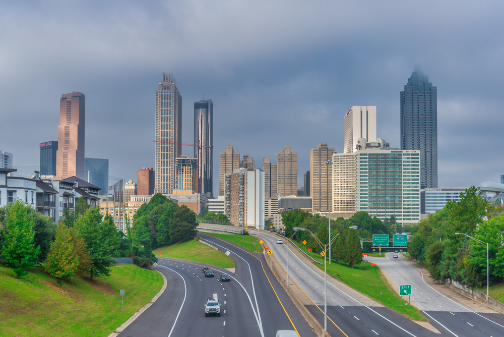 A hazy morning looking at the Atlanta City Skyline from Jackson Street Bridge