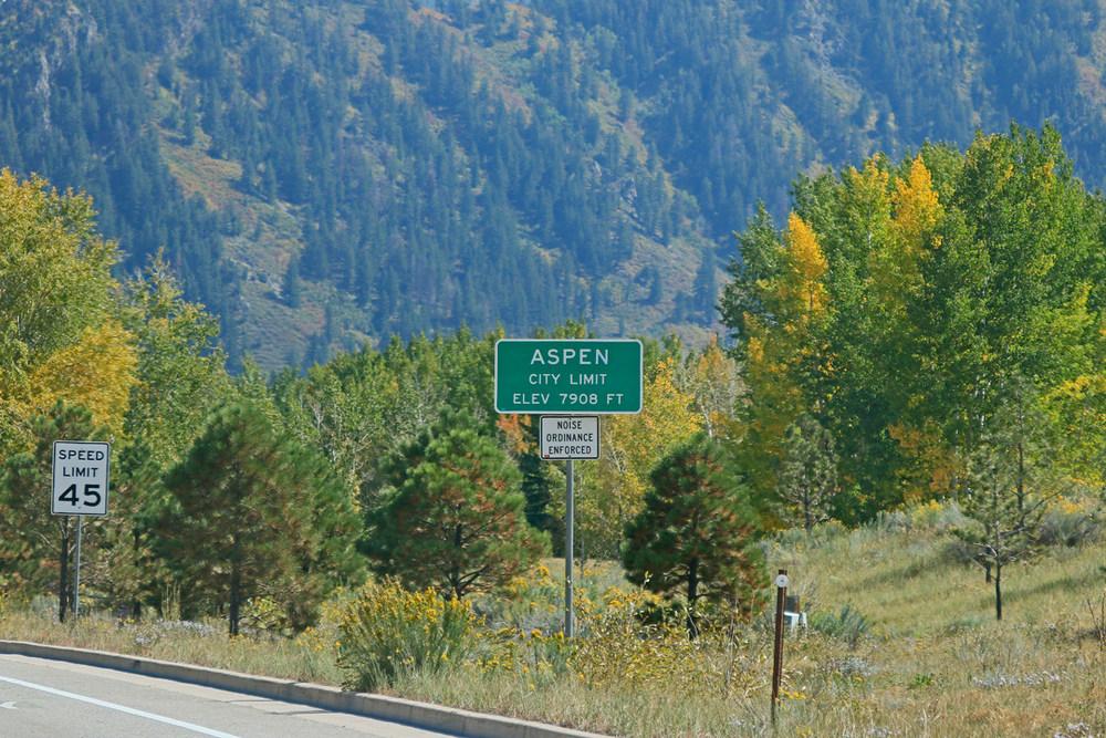 Sign for entering Aspen, Colorado