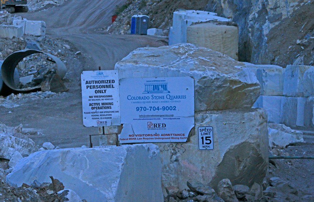 Signs at the quarry gate/
