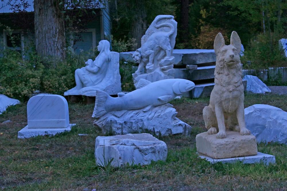 Marble sculptures.