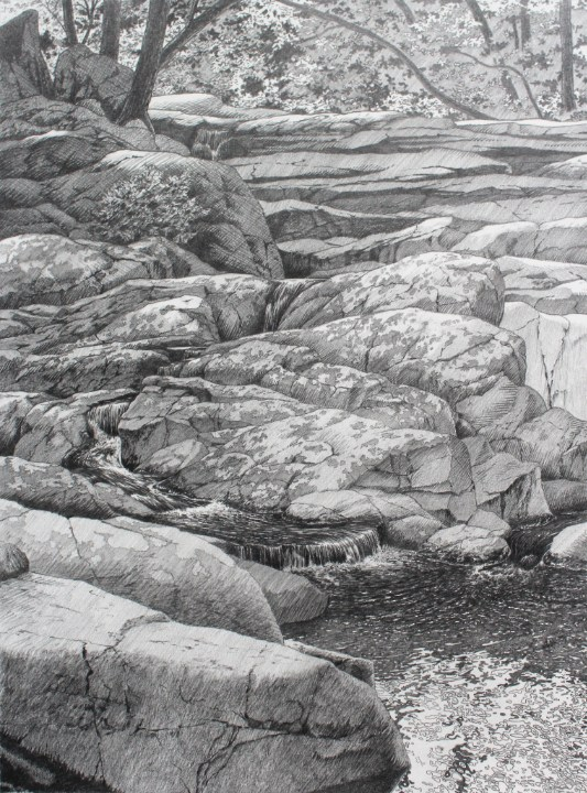 """Preliminary drawing for """"Granite Cascade"""" by William H. Hays"""
