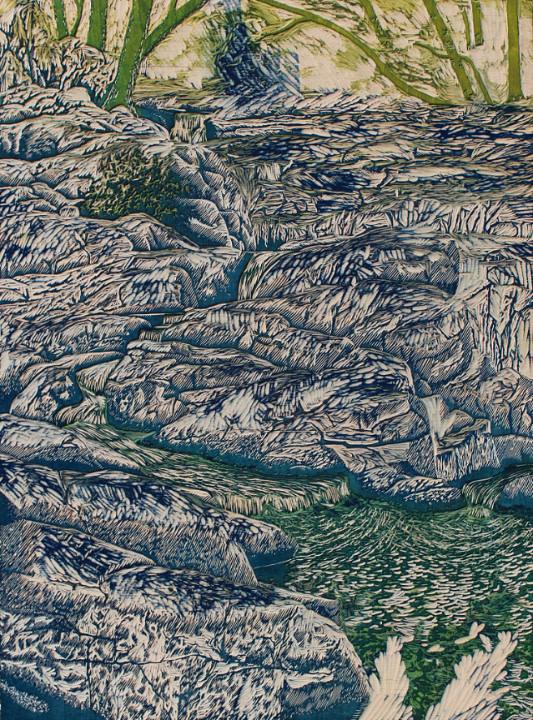 "Wood block for ""Granite Cascade"" by William H. Hays"