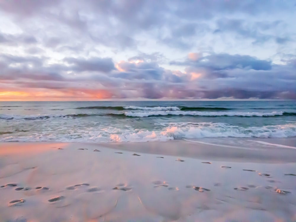 A gorgeous, colorful sunrise at the beach in Destin