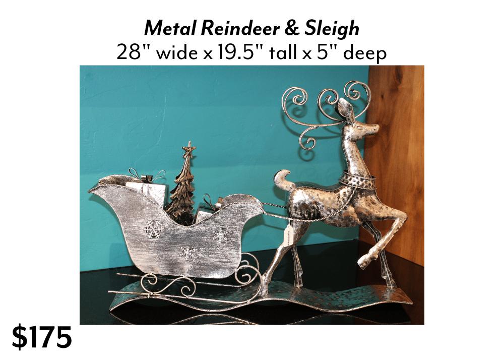 Metal Reindeer & Sleigh