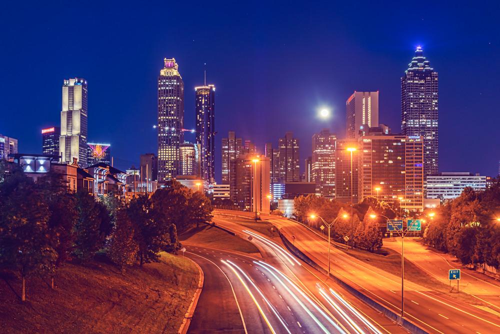 Moon Over Atlanta's Skyline