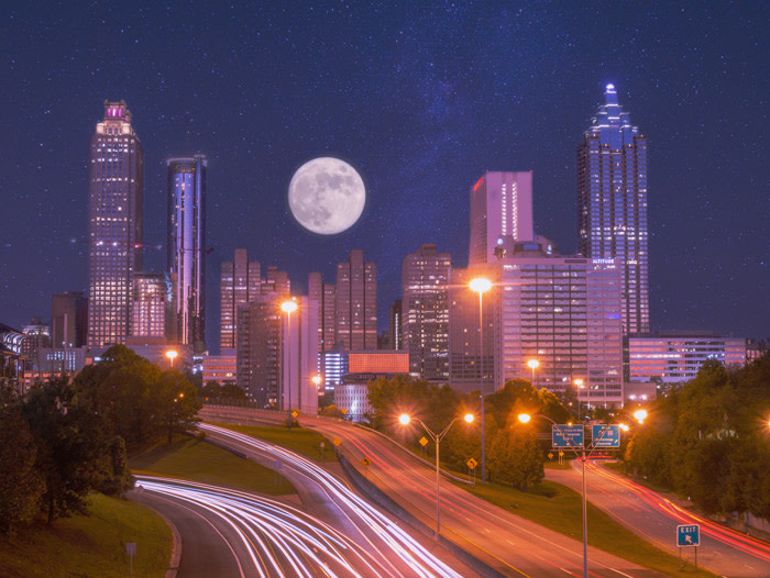 Composite fine-art photo of the full moon over Atlanta