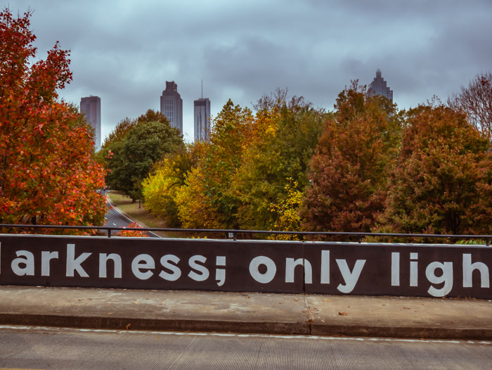 A glimpse of the City of Atlanta from an Atlanta neighborhood
