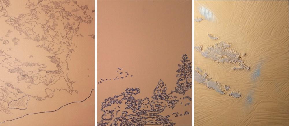 Linoleum blocks for Migrant Sky by William H. Hays