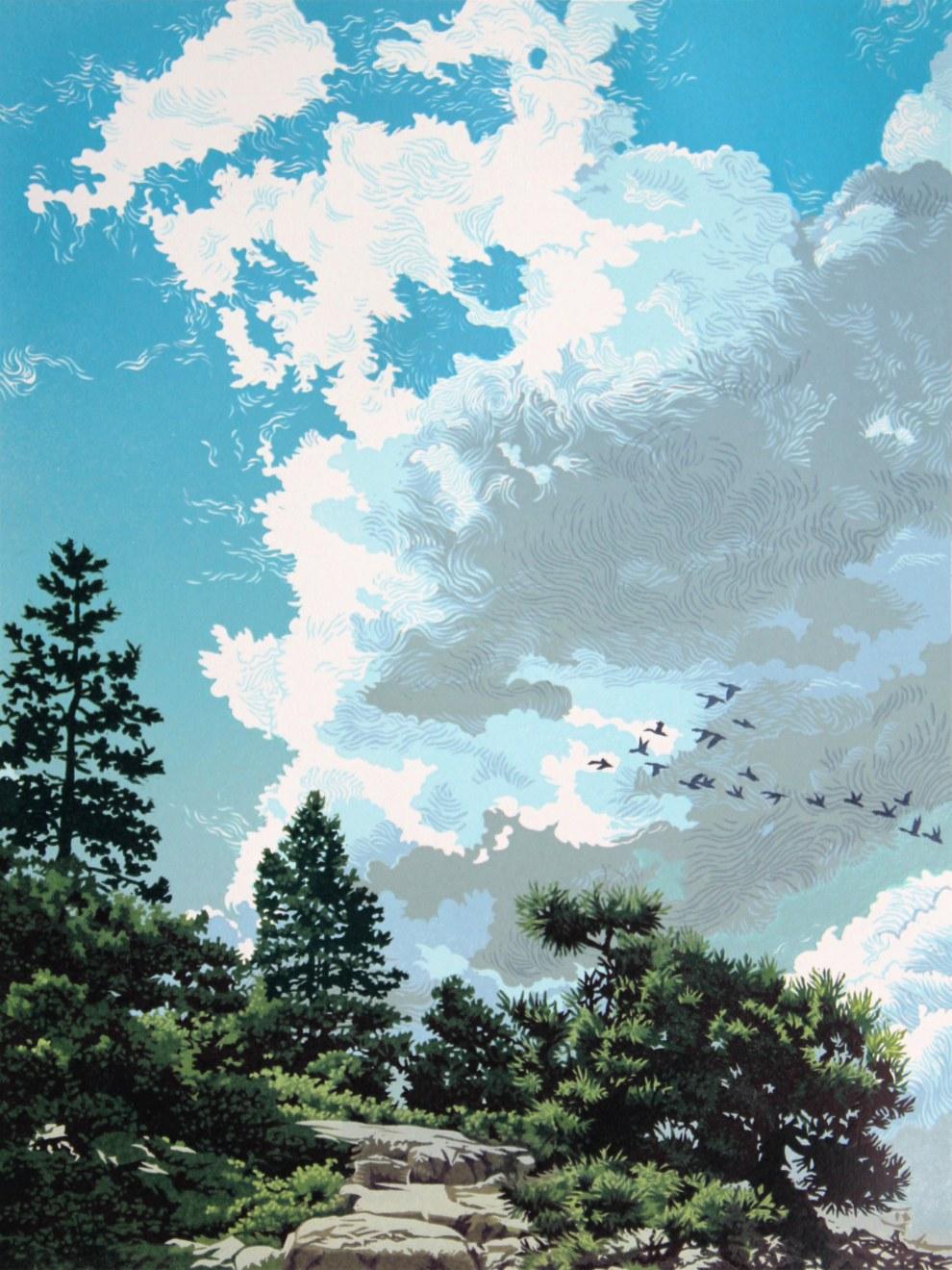Migrant Sky, linocut print by William H. Hays