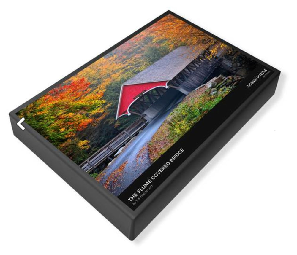 White Mountain Puzzle - Flume Covered Bridge by T-S Photo Art