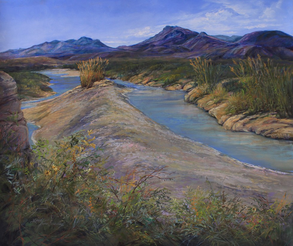 River Between the Lands painting, sandbar on the lower Rio Grande 00
