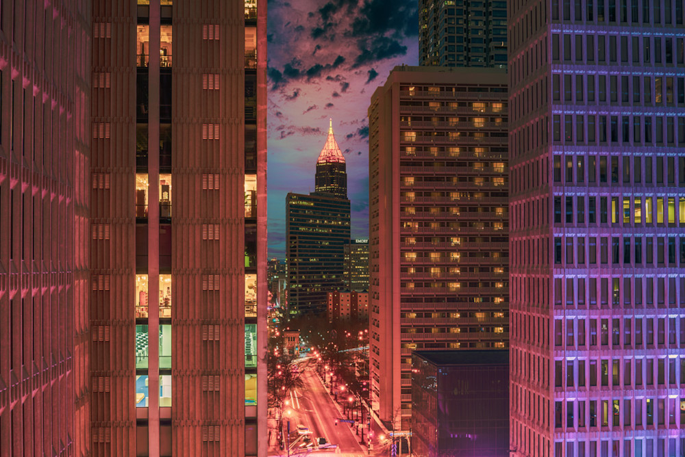 Downtown Atlanta with a beautiful sunset sky behind the Bank of American building