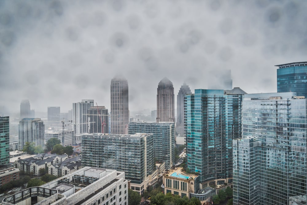 The City of Atlanta in the Rain