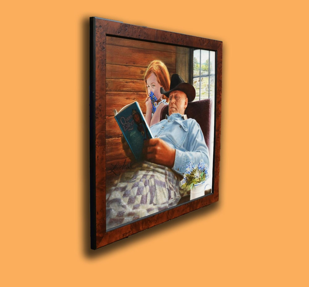 """Story Time 30"""" X 30"""" original framed on a wall."""