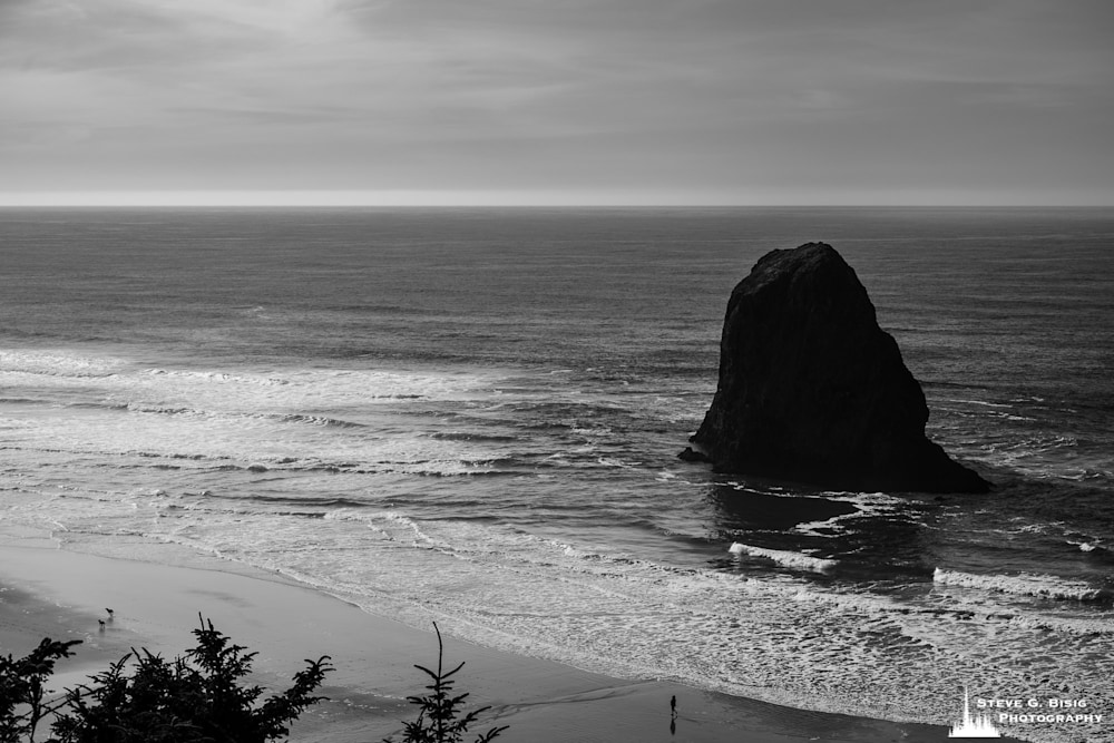 A black and white photograph of the ocean views along US101 in Oregon.