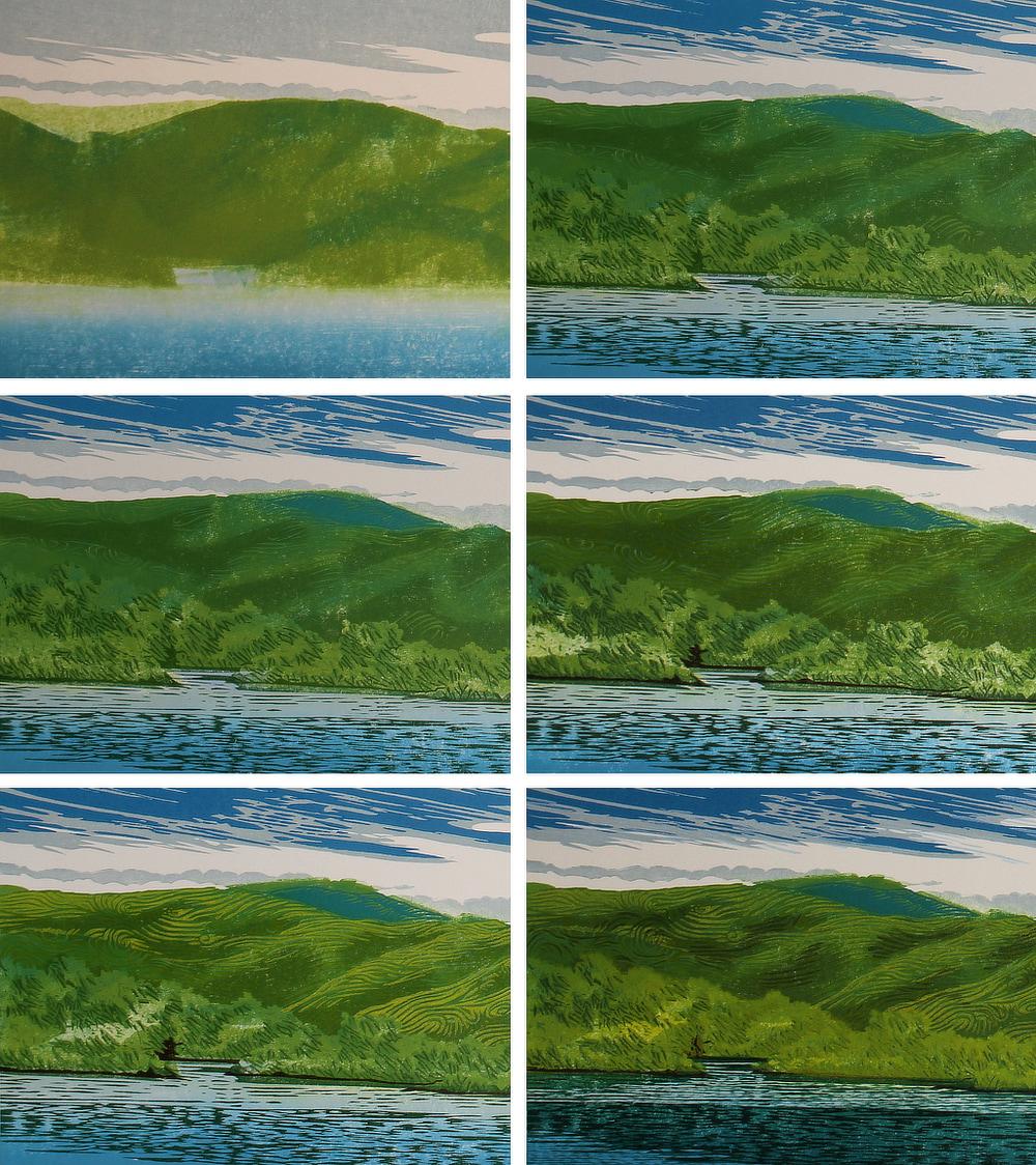Cirrus Sky, impressions 1-6, woodcut by William H. Hays