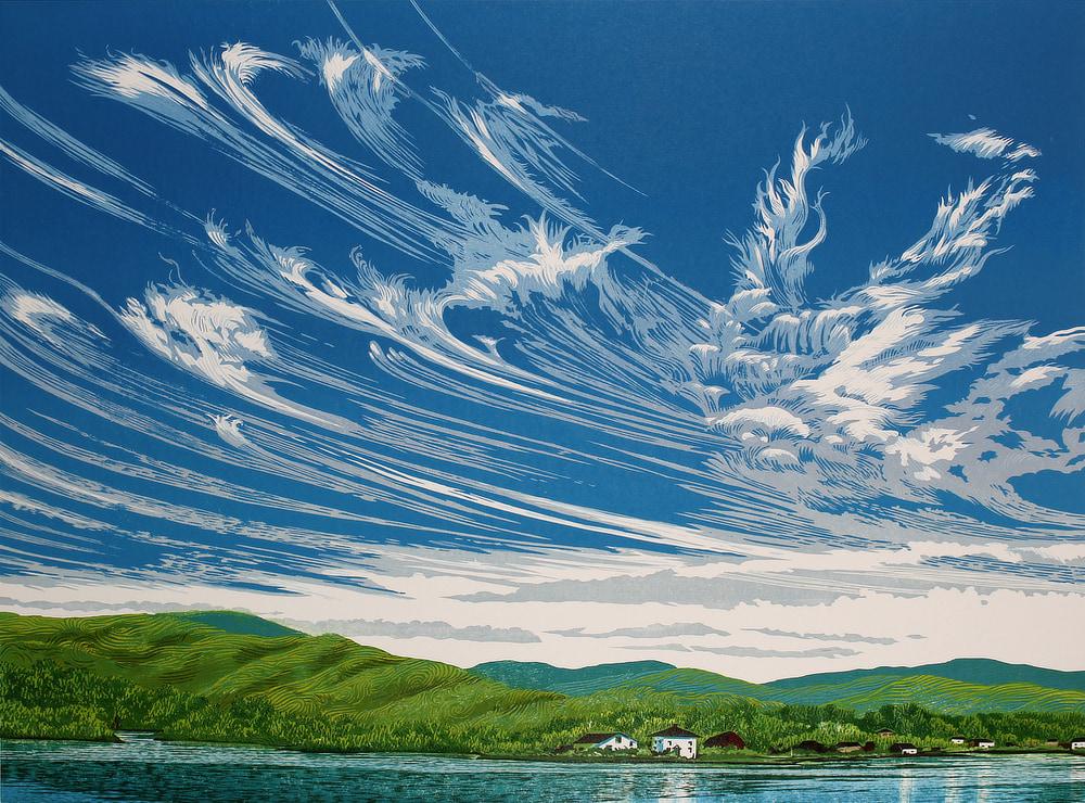 Cirrus Sky, woodcut print by William H. Hays