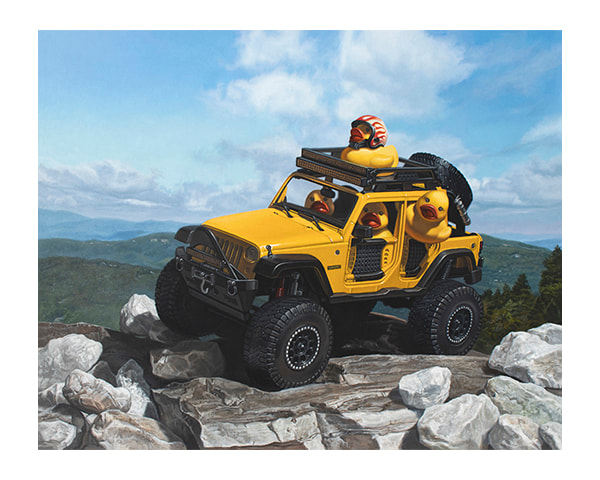 """""""Keep on Ducking"""" painting with a Jeep by Kevin Grass"""