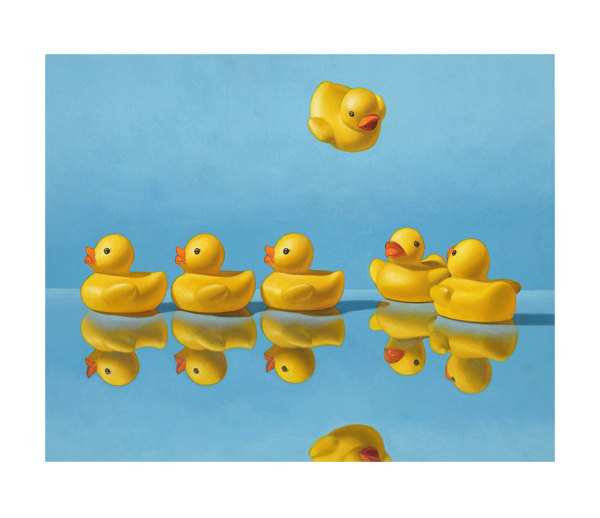 """Artist Kevin Grass's painting of rubber ducks lining up in """"Getting All Your Ducks in a Row."""""""