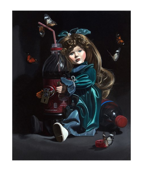 """Kevin Grass's painting """"Sugar Baby"""" with a baby doll chained to a Dr. Pepper bottle."""