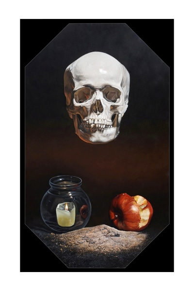 A painting by Kevin Grass of a human skull, an apple, a candle and a dead housefly.