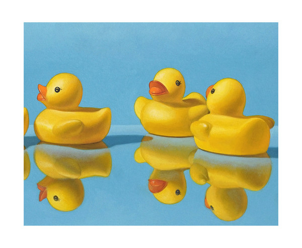 Detail of Kevin Grass's painting of rubber ducks lining up