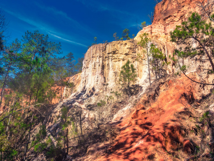 The side of the canyon at Providence Canyon with a blue sky in the background