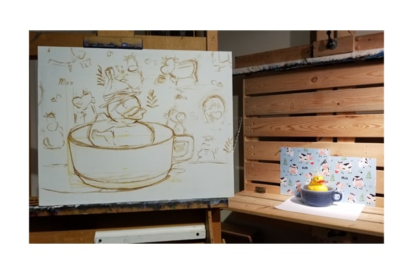 """The sketch of """"Milkduck"""" and the still life from which it is painted."""