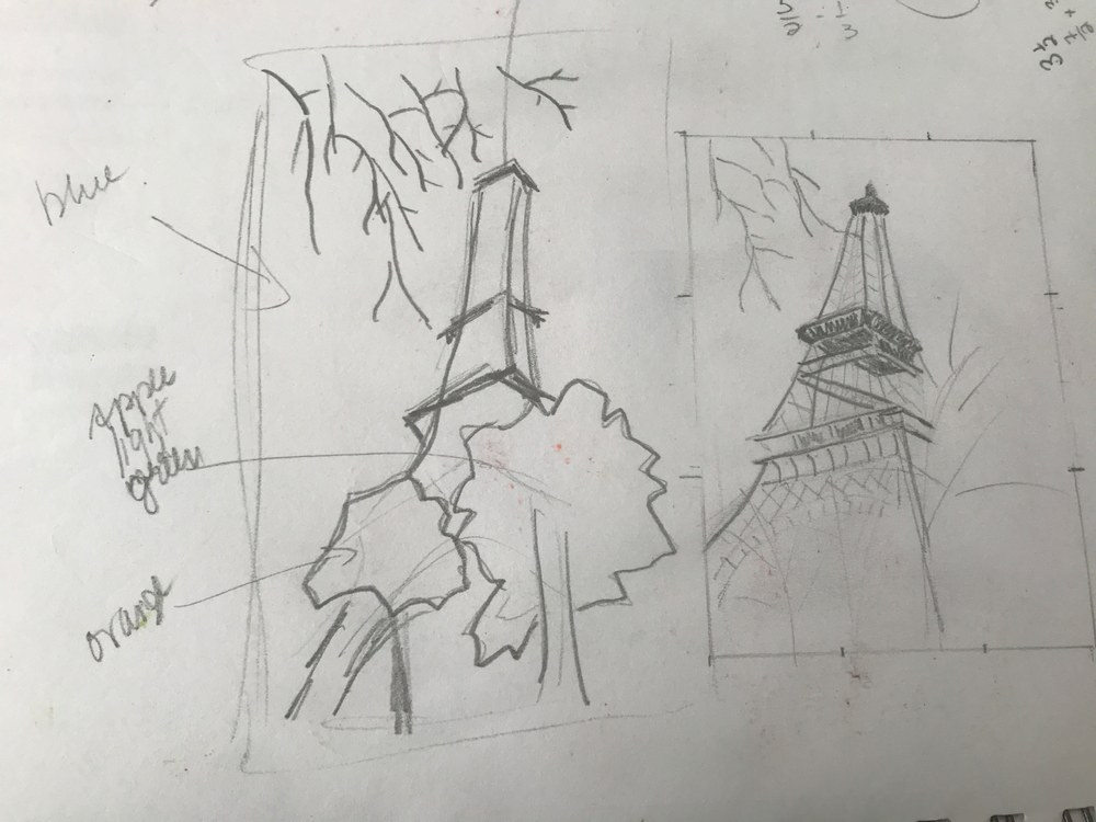 Eiffel Tower sketches by Mary Planding