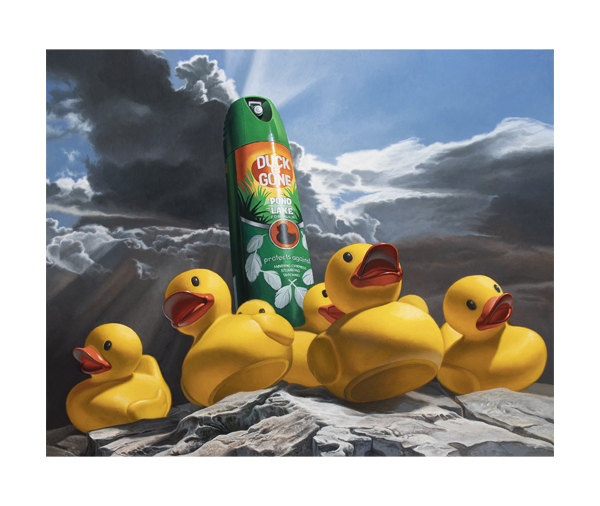 rubber ducks fleeing from a spray can of duck repellant