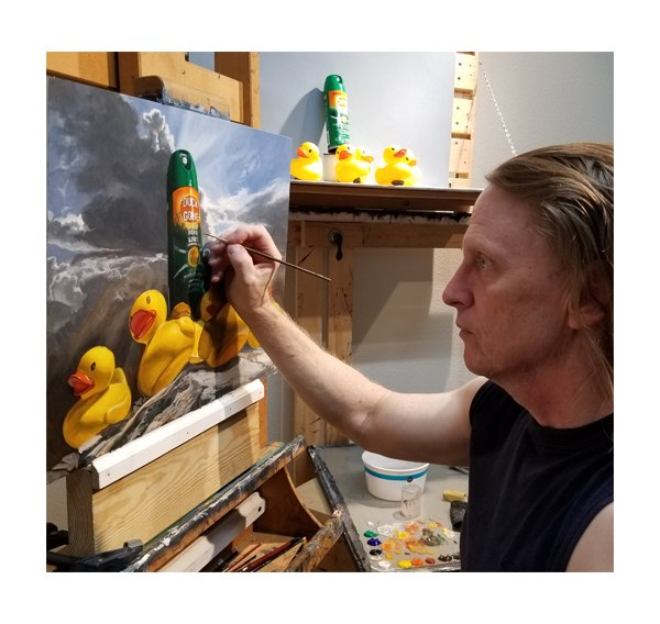 """Kevin Grass painting his """"Duck Off"""" painting"""
