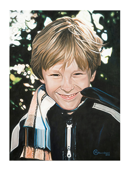Artist Kevin Grass's son Nicholas at age 9