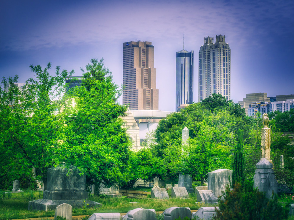 Part of the Atlanta skyline as seen from Oakland Cemetery in the morning light
