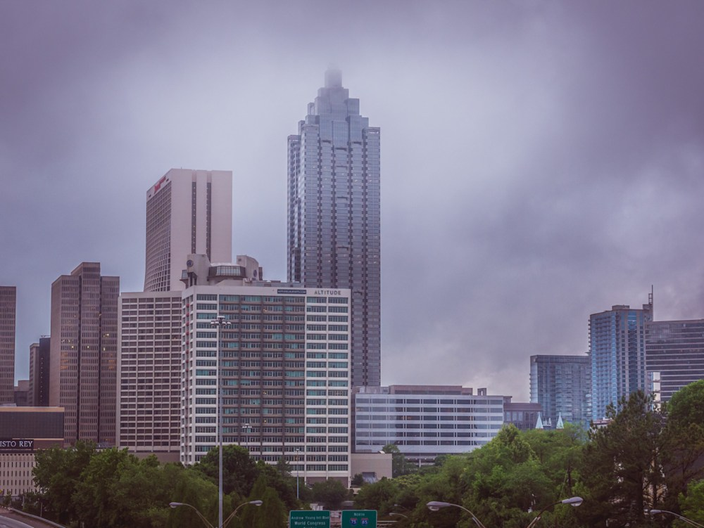 A misty morning in the City of Atlanta looking at the tall Suntrust building partially obscured in mist