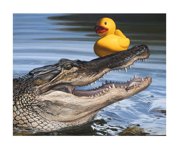 A painting of an alligator in a lake with a rubber duck on its head.