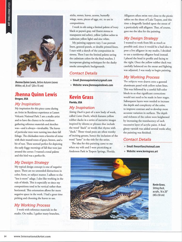 """""""Sitting Duck"""" in International Artist magazine."""