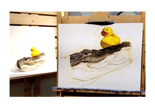 """""""Sitting Duck"""" at the start of the painting process"""