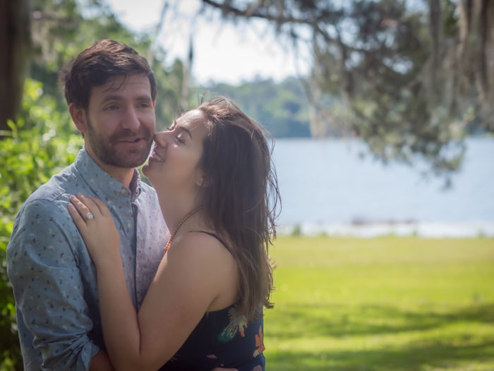 Bride and groom-to-be standing at the Alfred B. Maclay Gardens State Park