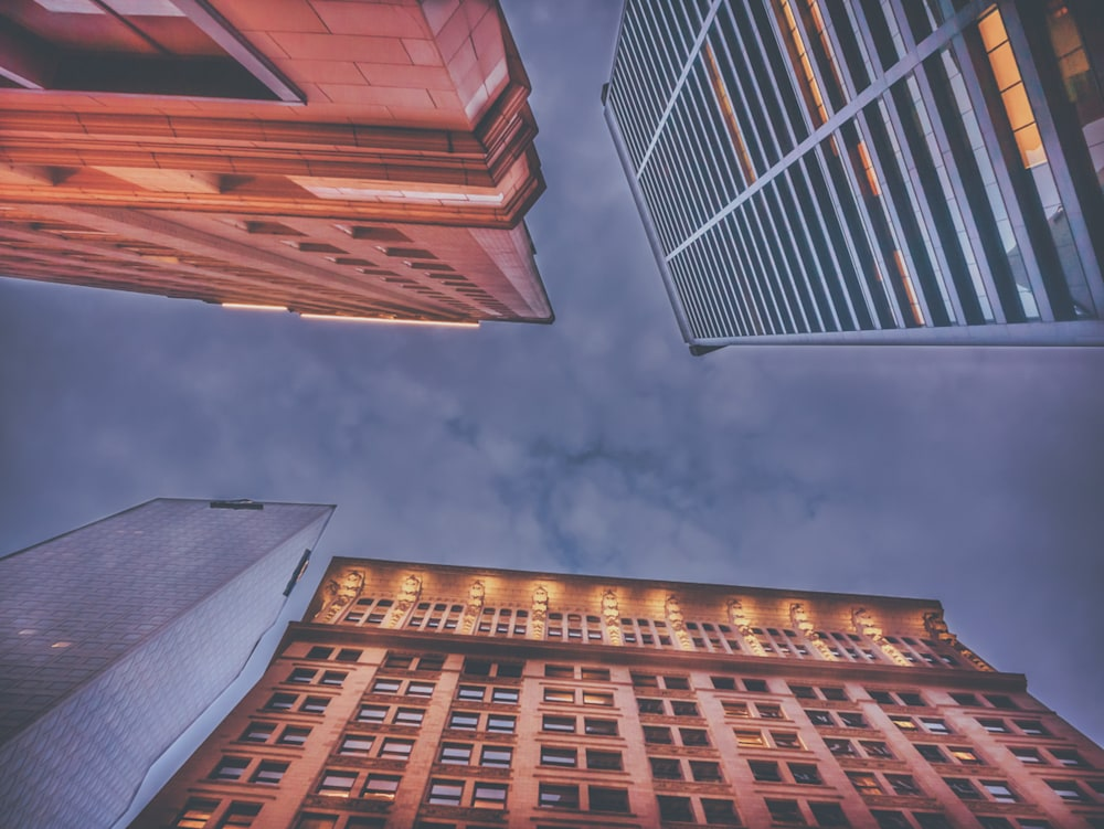 Looking straight up where four buildings converge at the top in the Fairlie-Poplar District of Atlanta