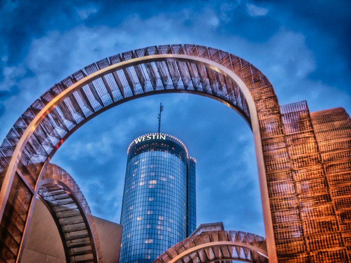 Looking through the Arches in Margaret Mitchell Square to the Westin beyond at blue hour in Atlanta