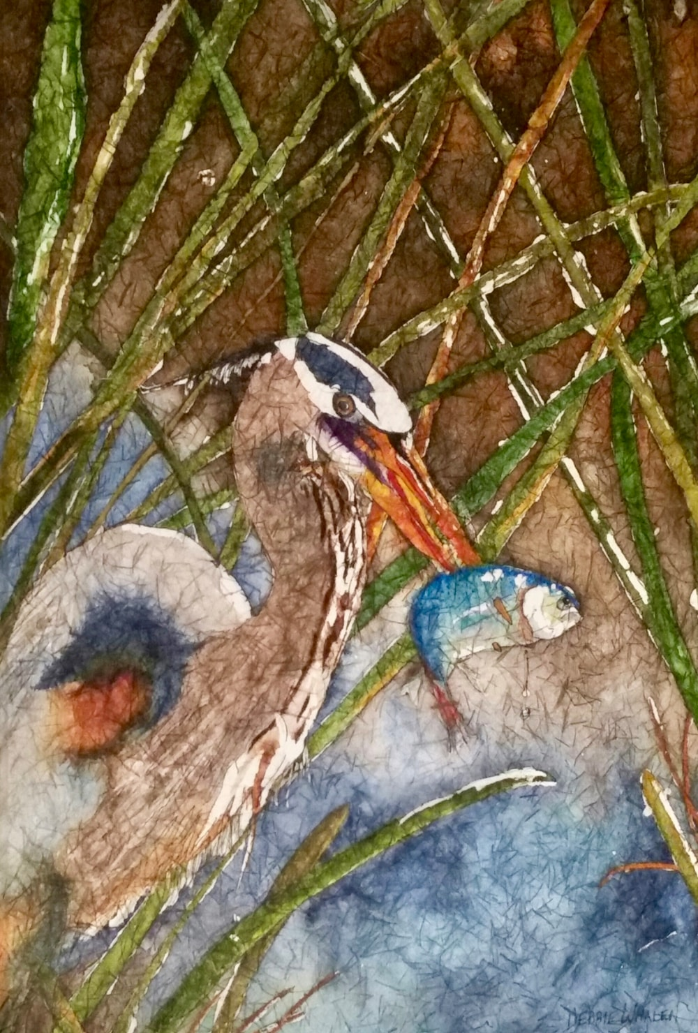 Riverside Dining. Watercolor Batik by Debbie Whalen
