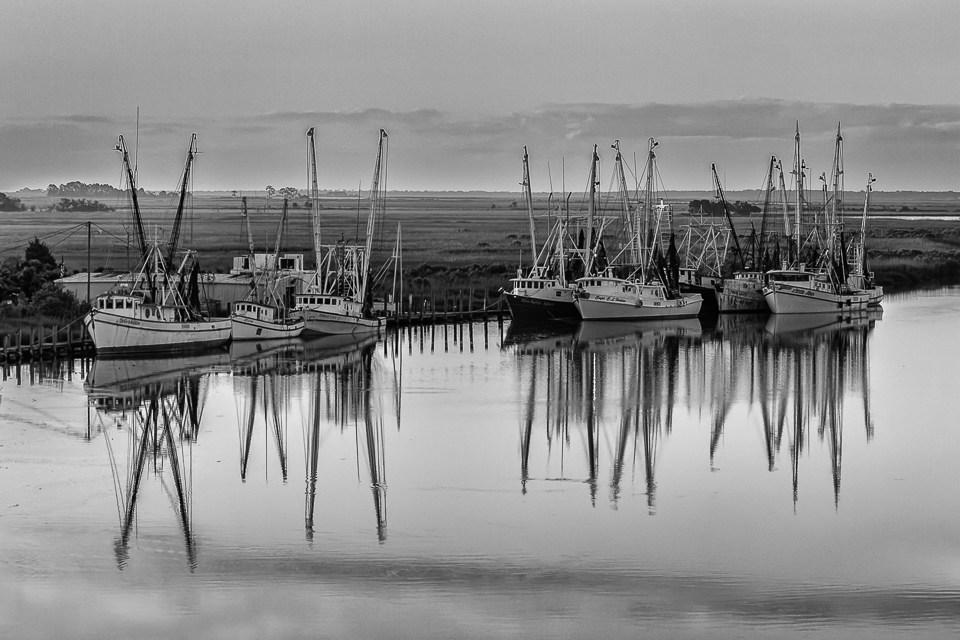 Shrimp Boat Reflections B&W