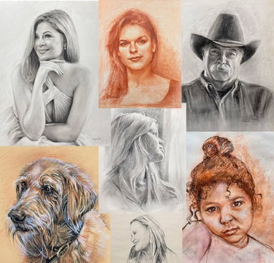 portrait sketches in dry media by Kathy Maniscalco Santa Fe