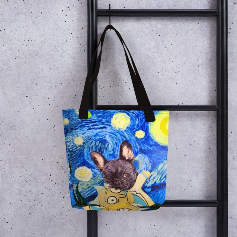 Starry Frenchie Tote Bag
