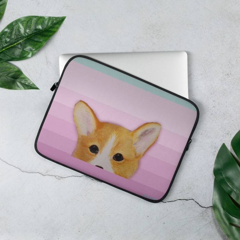 Corgi in Pink Laptop Sleeve