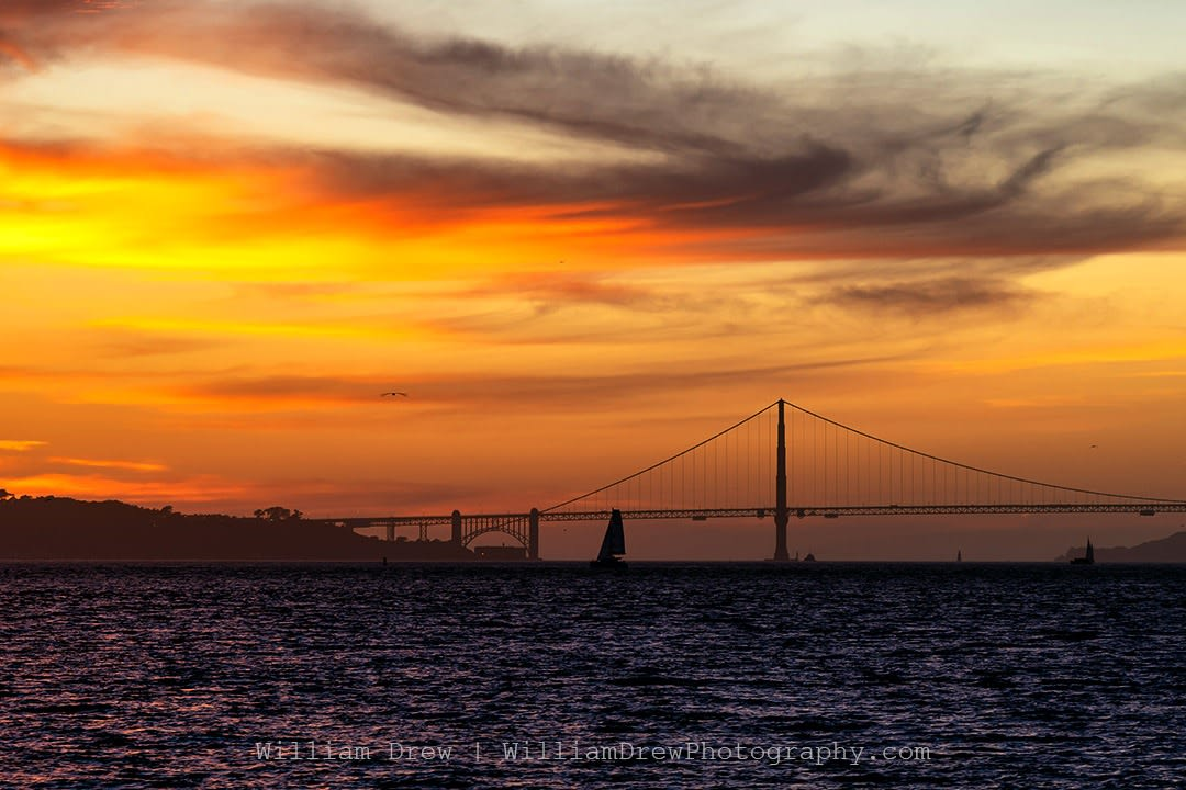 Golden Gate Sailboat Sunset