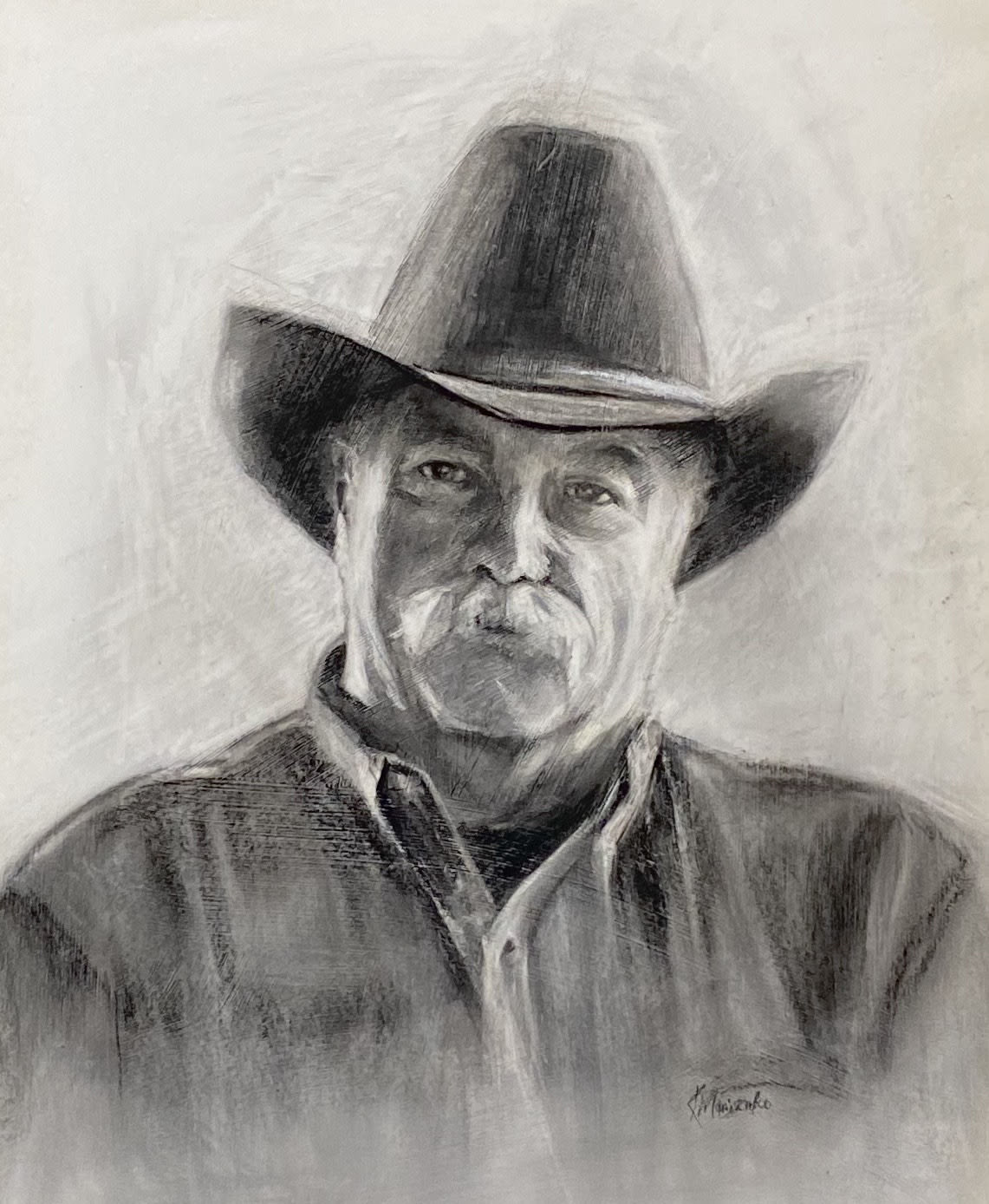 Charcoal painting of Tim