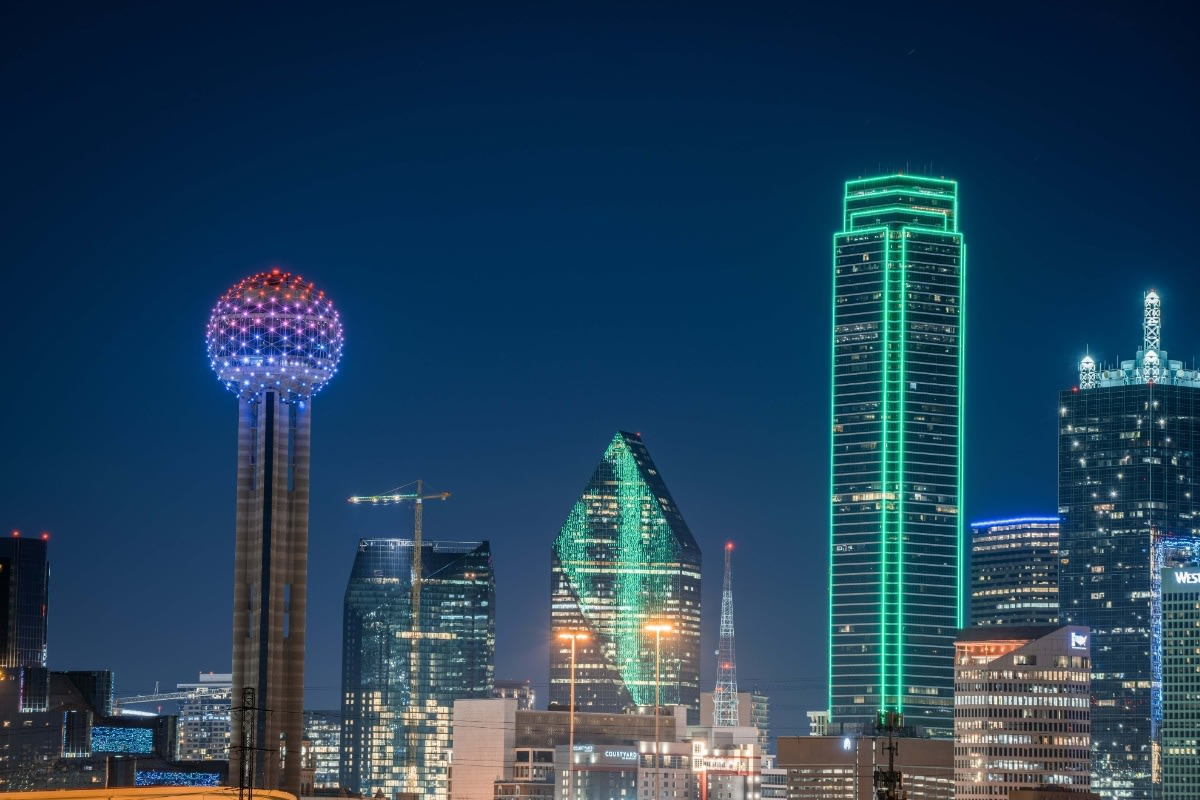 Dallas Skyline at Night in January