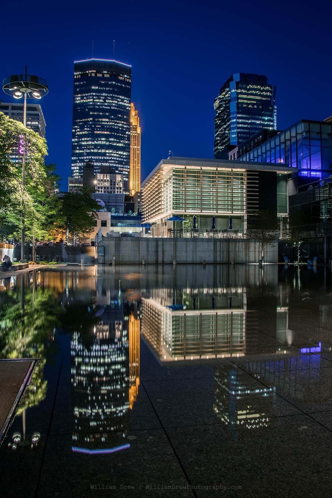 Minneapolis Reflections at Peavey Plaza - Minneapolis Skyline Art | William Drew Photography